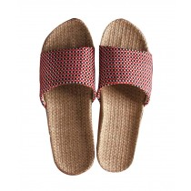 Female Linen Cotton Slippers Thick Bottom Cool Summer Slippers, Red