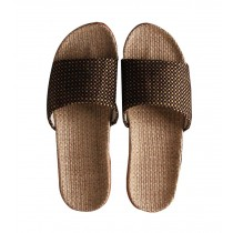 Lightweight Men's Cotton Cloth Thick Home Indoor Cool Slippers, Brown