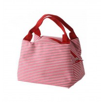 Easy To Carry Small Square Lunch Bag/Female Handbag, Red Stripe