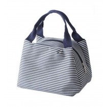 Exquisite Beauty Durable Small Square Lunch Bag, Purplish Blue Stripe
