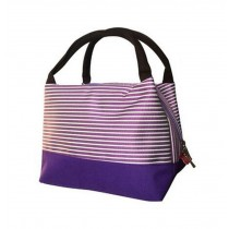 Easy To Carry Oxford Cloth Insulation Lunch Bag/Handbag, Purple Stripe