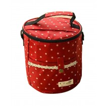 Large High-quality Waterproof Oxford Cloth Round Lunch Bag, Red