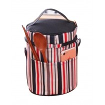 Exquisite Beauty Durable Oxford Cloth Waterproof Stripe Lunch Bag, Black