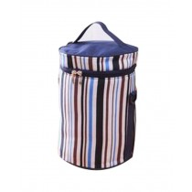 Easy To Carry Handbag Oxford Cloth Waterproof Stripe Lunch Bag, Deep Blue