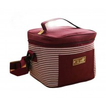 Durable Square Striped Frozen Oxford Cloth Handbag/Lunch Bag, Red