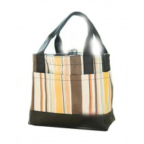 Exquisite Beauty Square Striped Drawstrap Student Lunch Bag, Vanilla Milkshake