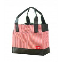 Durable Square Striped Drawstrap Bag/Oxford Cloth Lunch Bag, Red Stripe