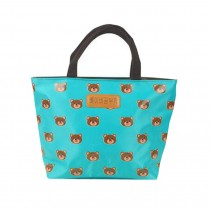 Nice Oxford Cloth Printing Student Lunch Bag, Water Blue, Little Bear