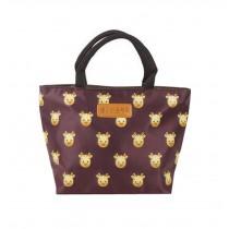 Beauty Oxford Cloth Giraffe Printing Girl Handbag/ Lunch Bag, Wine Red