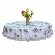 Elegant Flower Round Tablecloth Table Mat Water Oil Resistant Durable