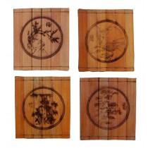 Set of 4 Durable Natural Bamboo Coasters Bamboo mats