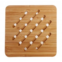 Set of 2 Square Healthy Bamboo Coasters Tablemat Heat-proof Mat