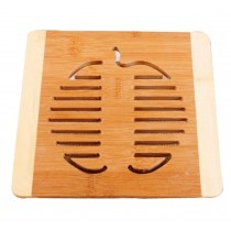 Set of 2 Lovely Apple Shape Bamboo Coasters Tablemats Pot holder