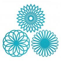 Creative Geometric Flower Pattern Insulation Mats Pot Holders Nonslip Blue