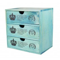 Lovely Small Crown Pattern Wood Storage Chests Storage Cabinet Toys,Blue