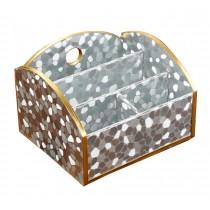 Practical Wood&Leather Desk Storage Box Desktop Storage Chest,Silver