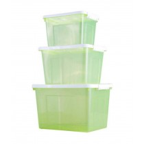 Set of 3 Multipurpose Storage Boxes/ Household Storage Bins,Transparent Green