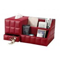 Elegant Desktop Storage Box/5 Cells Multifunctional Tissue Box, Red