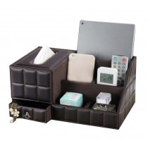 High-grade Desktop Storage Box/ Multifunctional Tissue Box /5 Cells, Coffee