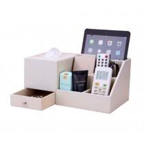 Multifunctional Desktop Storage Box/ Creative Tissue Box 7 Cells, White