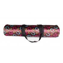 Multifunctional Women's Canvas Yoga Mat Bag,Coffee C Word Lines