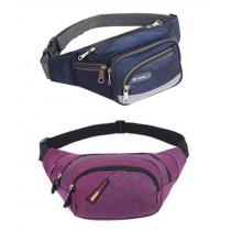 Set of 2 High-grade Durable Sports&Outdoor Pockets Waist Packs (Blue And Purple)