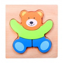 Lovely Bear Wooden Jigsaw Puzzles Kids Baby's 3D Puzzles Building Blocks Toys