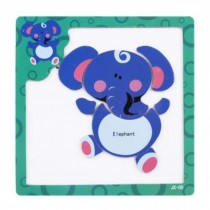 Creative Durable Wood Jigsaw Puzzles Educational Toys Blue Elephant Puzzle