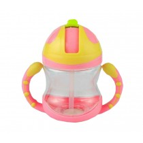 Kids Water Bottle With Handles Straw Training Baby Bottle [Peach Pink]
