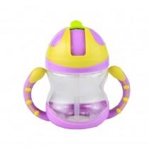 Cute Kids Water Bottle With Handles Straw Training Baby Bottle [Purple]
