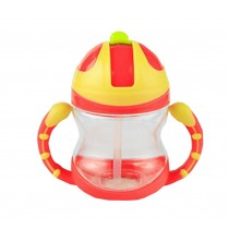 Cute Kids Water Bottle With Handles Straw Training Baby Bottle [Strawberry]