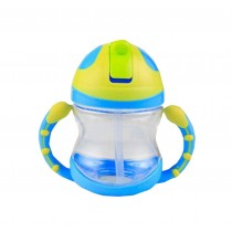 Cute Kids Water Bottle With Handles Straw Training Baby Bottle [Blue]