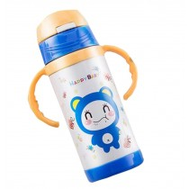 Baby Kids Outdoor Vacuum Cup Insulated Bottle with Straw Handles 350 ML