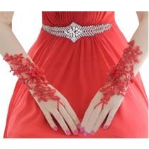Beautiful Red Womens Wedding Gloves Fingerless Bridal Gloves for Dress Wedding
