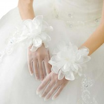 Womens Lace Floral Bridal Gloves for Dress or Wedding