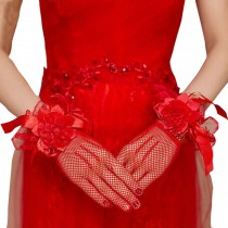 Elegant Red Lace Grids Style Women Wedding/Party Gloves