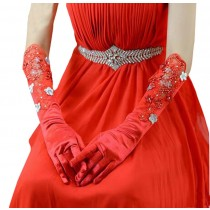 Beautiful Red Women Long Sleeve Gloves Wedding/Party Gloves