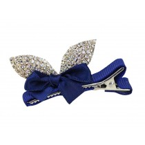 2 PCs Lovely Crystal Girl Hair Clips Blue Hair Ornament for Wedding/Party