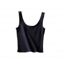 U-shape Collar Women Summer Short Camisole Cotton Soft Vest Navy Blue