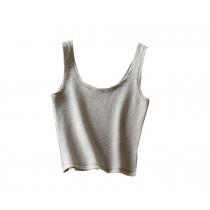 U-shape Collar Women Summer Short Camisole Cotton Soft Tops