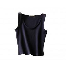 Soft Cotton Women Summer Camisole Short Vest Navy Blue