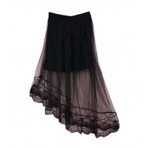 Black Lace Women Summer Skirt High Waist Beach Skirt