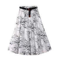 Retro Chinese Style Women Summer Skirt High Waist Print Skirt