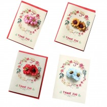 Pack of 4 [Thank You] Thanksgiving Day Greeting Cards with Paper Flower