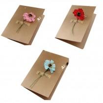Set of 3 Handmade Flower Greeting Cards Birthday/Festival Cards