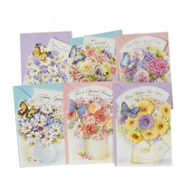 Assorted Flower Greeting Cards for All Occasion 6 PCS