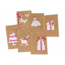 Pack of 6 Birthday Greeting Cards Wish Cards with Envelopes