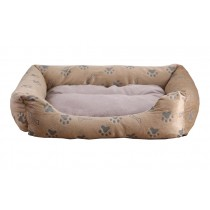Comfortable Rectangle Pet Bed with Dog Paw Pattern - Grey