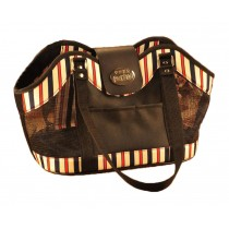 Stripe Pattern Mesh Window Dog and Cat Carrier Bag