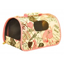 Pink Heart Pattern Convenient Dog Travel Carrier Bag